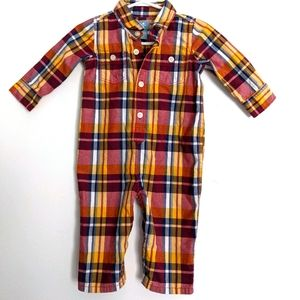 Baby Gap button up plaid romper